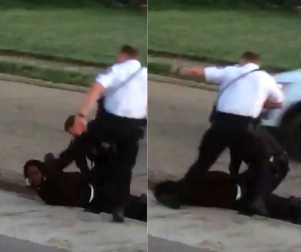 Images taken from a video shot in Columbus, Ohio, on Saturday appear to show an officer stomping on a handcuffed suspect's he