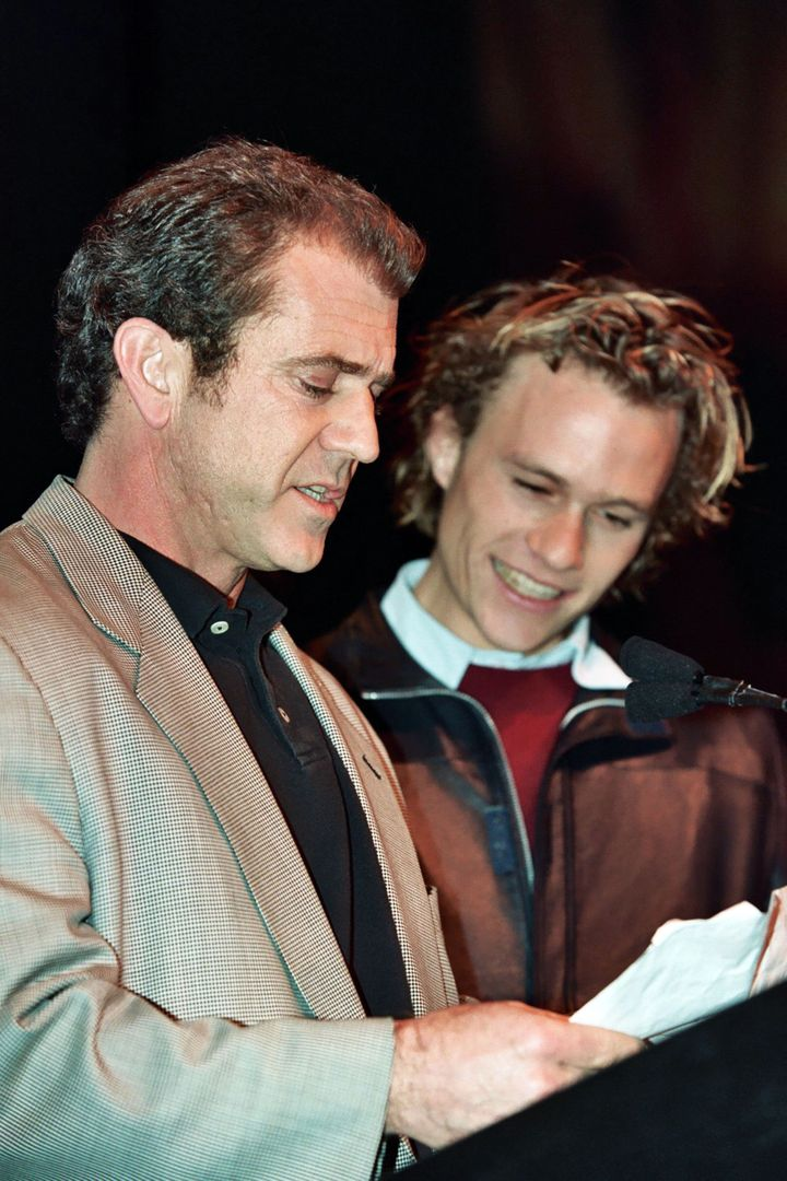 Mel Gibson and Heath Ledger during 2000 NATO/Showest Convention at Paris Hotel in Las Vegas, Nevada, United States.