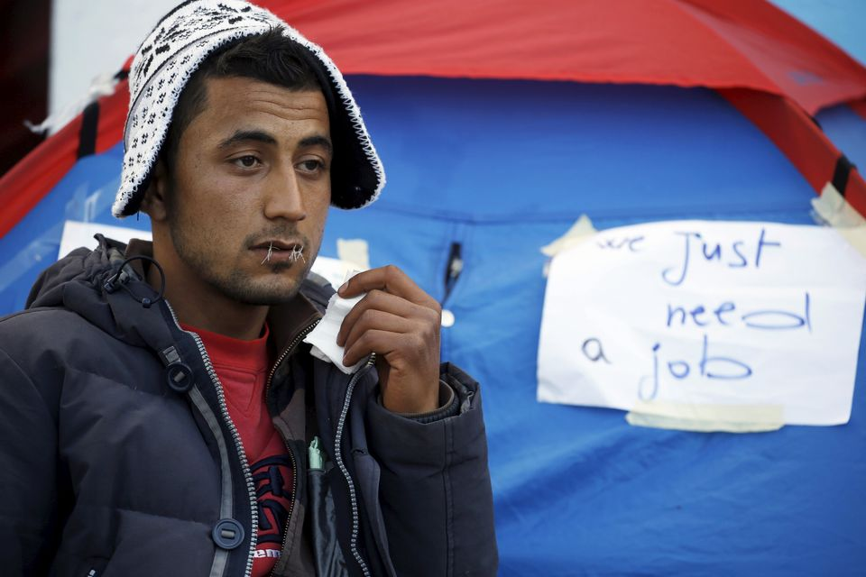 An unemployed man goes on a hunger strike during a sit-in to protest the lack of jobs. Kasserine,...
