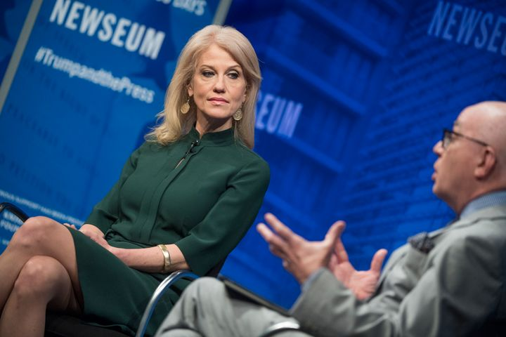White House adviser Kellyanne Conway is interviewed by Michael Wolff during a discussion at the Newseum.