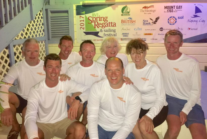 The Trekr Racing team at the 2017 BVI Spring Regatta. They are possibly the first all-LGBT team to race in a major regatta.