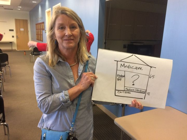 Dr. Kristine Hembre with the graphic she used to explain health care costs to Lamborn.