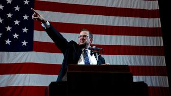 American lawyer and state congressional candidate James Thompson speaks on the opening night of the Kansas Democratic Party's state convention in the Topeka High School Gymnasium, Topeka, Kansas, February 25, 2017. (Photo by Mark Reinstein/Corbis via Getty Images)