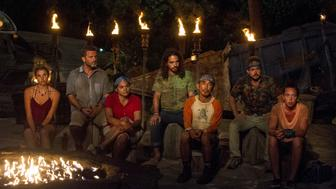 MANA ISLAND - JUNE 16: 'Vote Early, Vote Often' - Andrea Boehlke, Jeff Varner, Sandra Diaz-Twine, Oscar 'Ozzy' Lusth, Tai Trang, Zeke Smith and Sarah Lacina at Tribal Council on the sixth episode of SURVIVOR: Game Changers, airing Wednesday, April 5 (8:00-9:00 PM, ET/PT) on the CBS Television Network. (Photo by Jeffrey Neira/CBS via Getty Images)