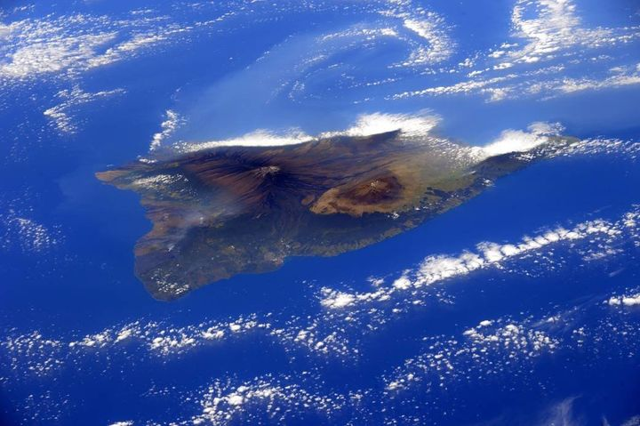 Hawaii's Big Island, as seen from the International Space Station in 2015.