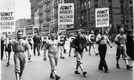 A May Day march in New York in the early 1940s called for the integration of baseball