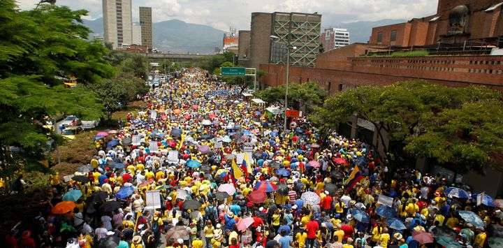 Colombians marched in Bogota on April 1 against corruption, the FARC peace process and national politics in general.
