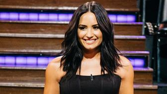 LOS ANGELES - APRIL 5: Demi Lovato greets the audience during 'The Late Late Show with James Corden,' Wednesday, April 5, 2017 (12:35 PM-1:37 AM ET/PT) On The CBS Television Network.  (Photo by Terence Patrick/CBS via Getty Images)