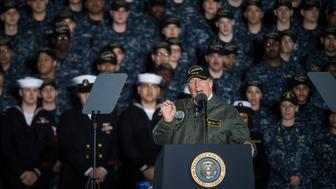 NEWPORT NEWS, VA - MARCH 2: President Donald Trump speaks to Navy and shipyard personnel aboard nuclear aircraft carrier Gerald R. Ford at Newport News Shipbuilding in Newport News, Va. on Thursday, March. 02, 2017. (Photo by Jabin Botsford/The Washington Post via Getty Images)