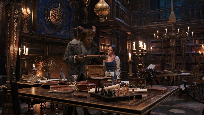 Emma Watson, right, as Belle with Dan Stevens, left, as Beast.