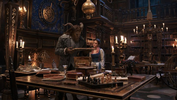 Emma Watson, right, as Belle with Dan Stevens, left, as Beast.