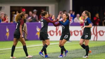 Oct 23, 2016; Minneapolis, Minnesota, USA; Team USA celebrates a goal by forward Carli Lloyd (10)  in the second half against the Team Switzerland at U.S. Bank Stadium. Team USA beats Team Switzerland 5-1. Mandatory Credit: Brad Rempel-USA TODAY Sports