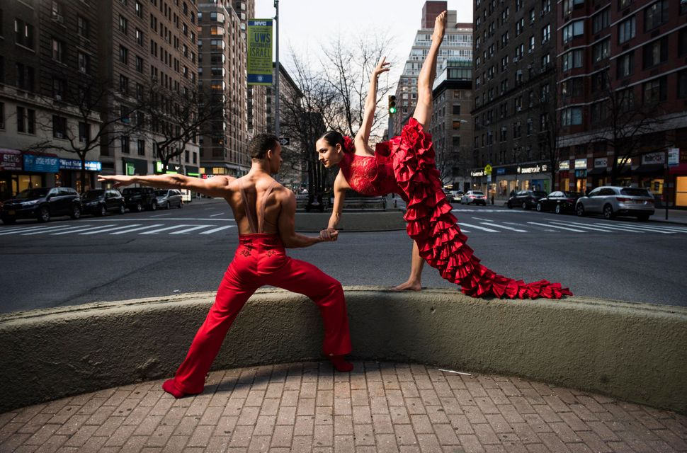 Lyvan Verdecia and Melissa Fernandez in a traffic island on Broadway in Manhattan.