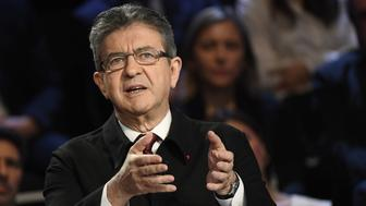 French presidential election candidate for the far-left coalition La France insoumise Jean-Luc Melenchon gestures as he speaks during a debate organised by the French private TV channels BFM TV and CNews, between the eleven candidates for the French presidential election, on April 4, 2017 in La Plaine-Saint-Denis near Paris. / AFP PHOTO / POOL / Lionel BONAVENTURE        (Photo credit should read LIONEL BONAVENTURE/AFP/Getty Images)