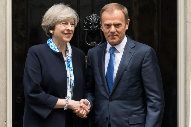 Theresa May and European Council President Donald