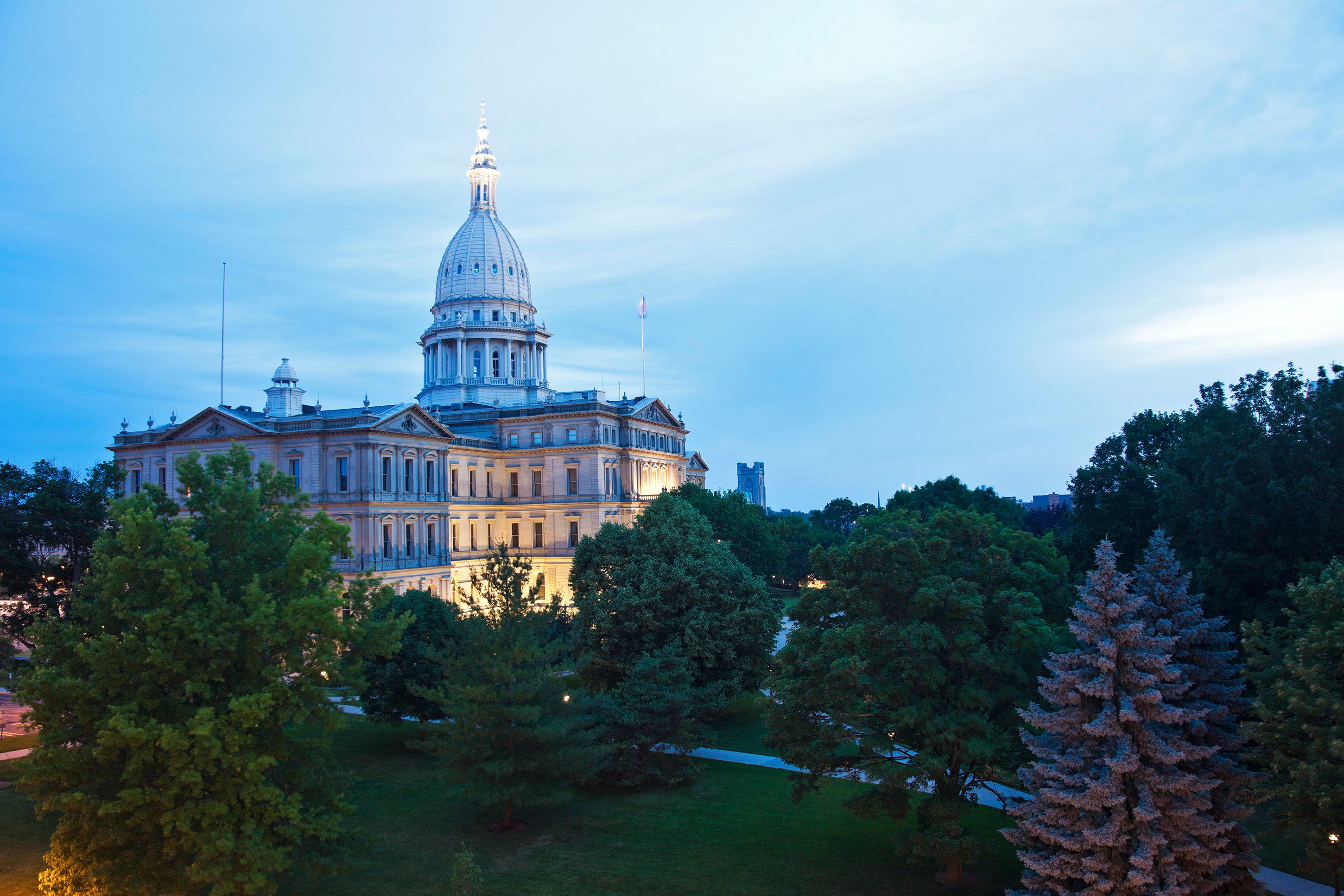 Lansing, Michigan  - elevated view of State Capitol Building