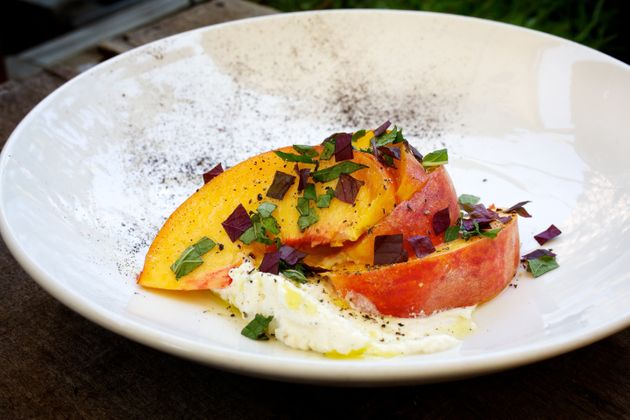 Summer peach salad with shiso from from Rose's Luxury in Washington,