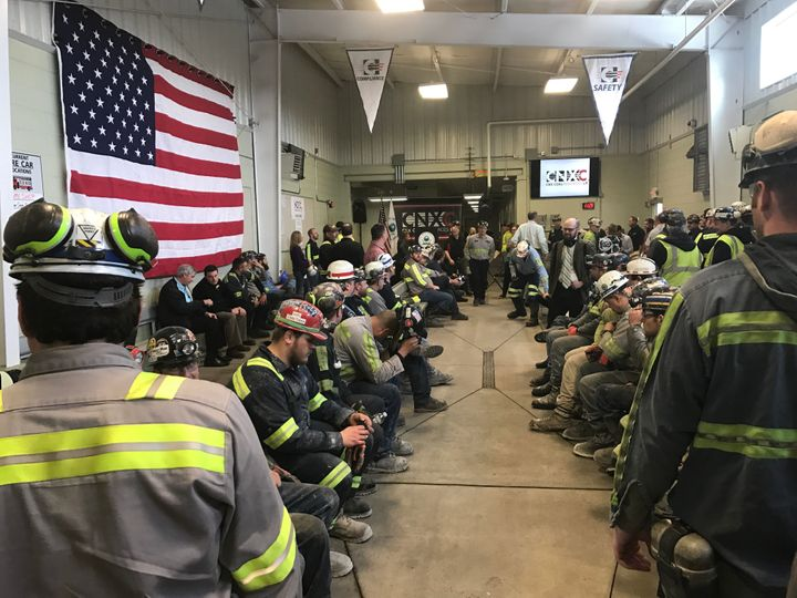 Coal miners at Pennsylvania's Harvey Mine wait for EPA Administrator Scott Pruitt to give a speech on Thursday.