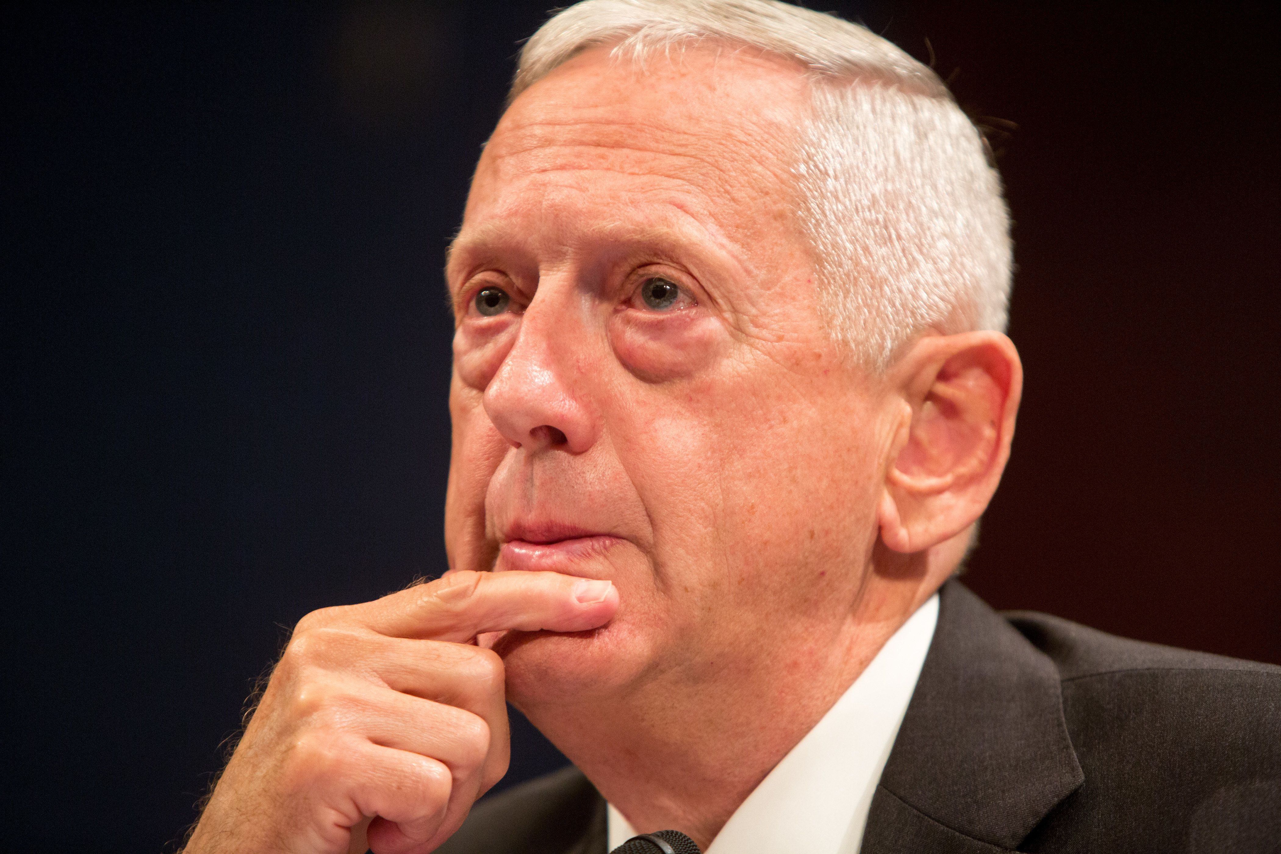 WASHINGTON, DC - SEPTEMBER 18, 2014:  Retired Marine Corps Gen. James 'Jim' Mattis, former commander of the U.S. Central Command testifies before the House (Select) Intelligence Committee on 'Threats Posed by ISIL (Islamic State of Iraq and the Levant), AQ (al Qaeda), and Other Islamic Extremists' on Capitol Hill in Washington D.C., September 18, 2014.  Yesterday the House approved President Obama's plan to train Syrian rebels to counter ISIL. (Photo by Allison Shelley/Getty Images)