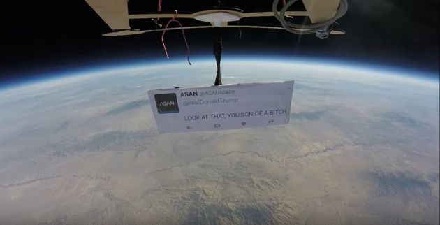 Autonomous Space Agency Network sent a tweet for President Donald Trump to space using a homemade weather