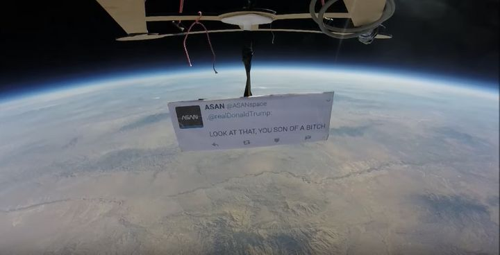 Autonomous Space Agency Network sent a tweet for President Donald Trump to space using a homemade weather balloon.