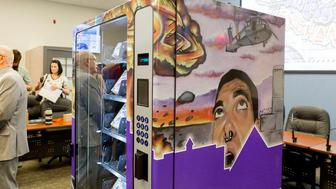 A new vending machine that will dispense free needles is unveiled in Las Vegas