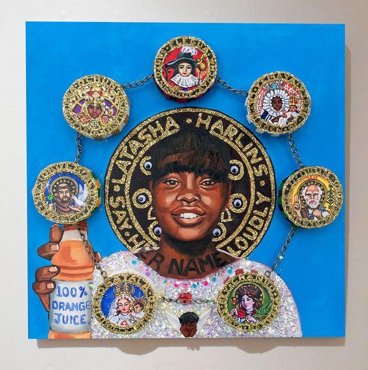 "<p>Lili Bernard <em>""Latasha Harlins en El Cielo con Las 7 Potencias Africanas""</em>, Oil, Acrylic, Metal Chain, Glitter, Plastic Eyeballs, Styrofoam, Plastic Angel, Faux Jewels on canvas. 2017</p>"