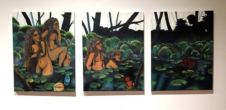 """<p>Loren Holland<em> """"The Bathers""""</em>, Oil on Canvas Triptych. 2016</p>"""