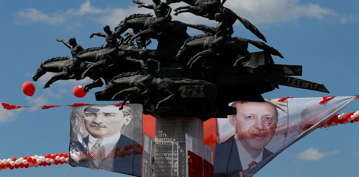 Is Erdoğan (on the right) projecting himself as the next Atatürk (on the left), modern Turkey's revered founding father?