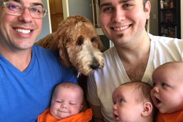 For the first time a gay couple had a triplet with the DNA of both fathers