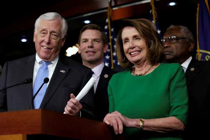 House Democratic Whip Steny Hoyer (Md.), left, speaks next to House Minority Leader Nancy Pelosi (D-Calif.) at a news confere