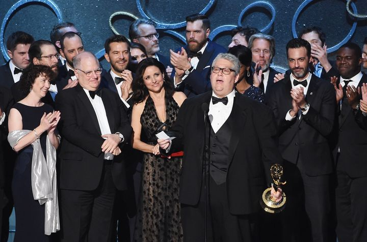 """David Mandel accepts the Emmy forOutstanding Comedy Series on behalf of""""Veep""""last Septemberin Los Ang"""