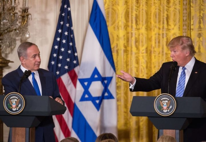 Donald Trump and Benjamin Netanyahu hold a joint press conference in the White House on February 15