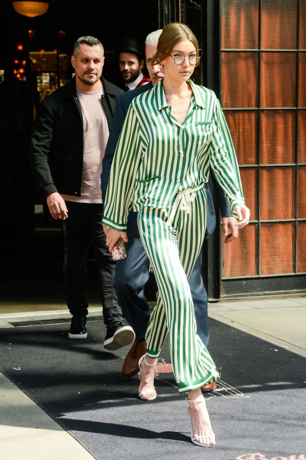 In April, Hadid left a New York City hotel wearing a green PJ set and heeled