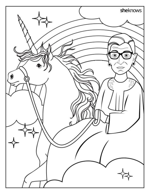 Print Out The Entire Ruth Bader Ginsburg Coloring Book For Free From SheKnows Medianbsp