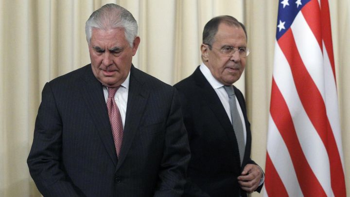 Russian Foreign Minister Sergei Lavrov (R) and US Secretary of State Rex Tillerson (L), Moscow, Russia.