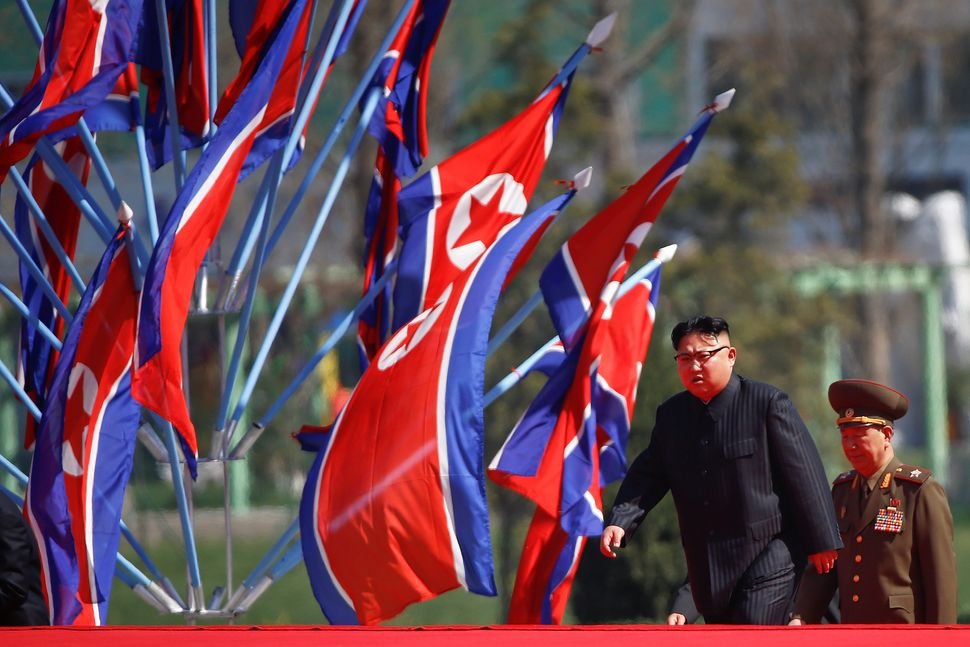 North Korean leader Kim Jong Un arrives for an opening ceremony of a newly constructed residential complex iin Pyongyang, Apr