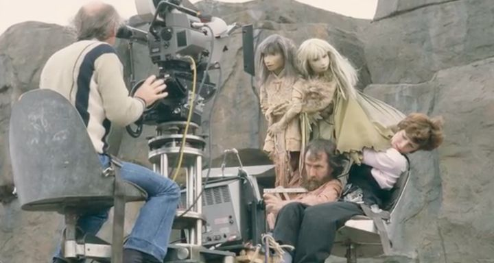 Jim Henson and Kathryn Mullen performing Jen and Kira on the set of <i>The Dark Crystal</i>.