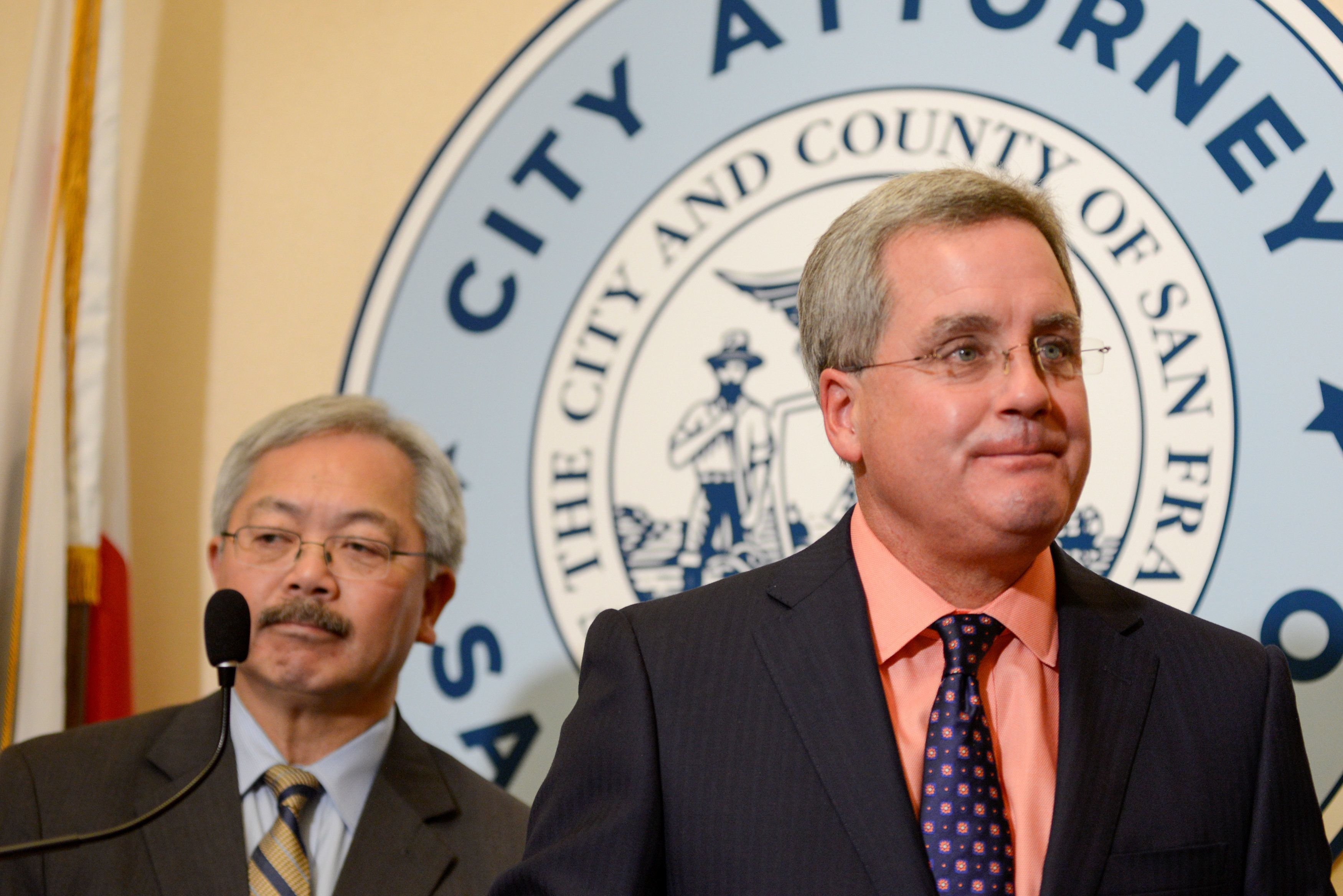 San Francisco Mayor Ed Lee and City Attorney Dennis Herrera announce the filing of a lawsuit against President Donald Trump's