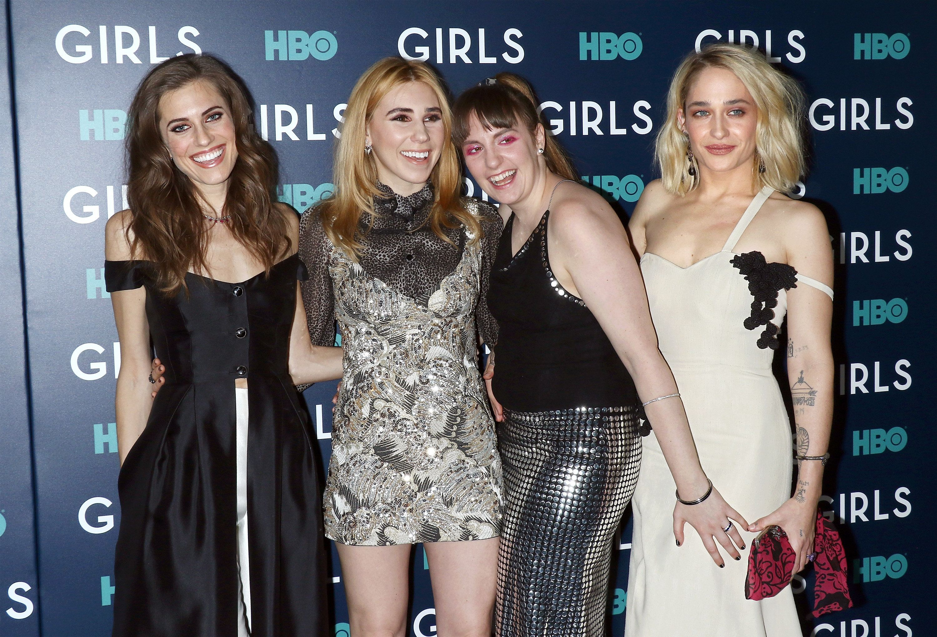 Actresses Allison Williams, Zosia Mamet, Lena Dunham and Jemima Kirke attend the the New York premiere...