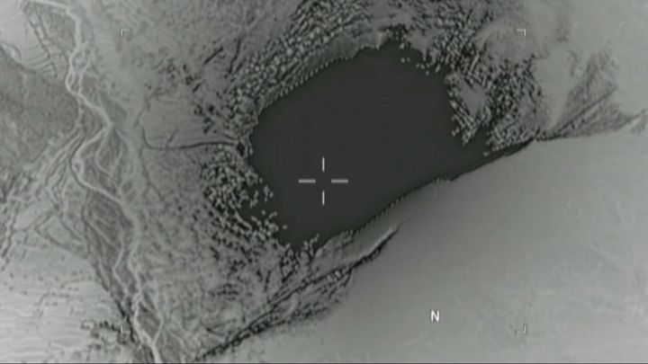 This still image taken from a video released by the Defense Department shows the moment the bomb struck the eastern prov