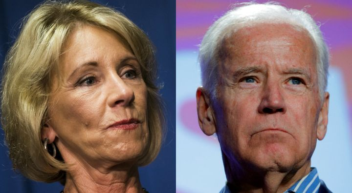Current Secretary of Education Betsy DeVos and former Vice President Joe Biden.