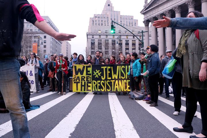 Members of Jews for Racial and Economic Justice organized a rally in New York City.