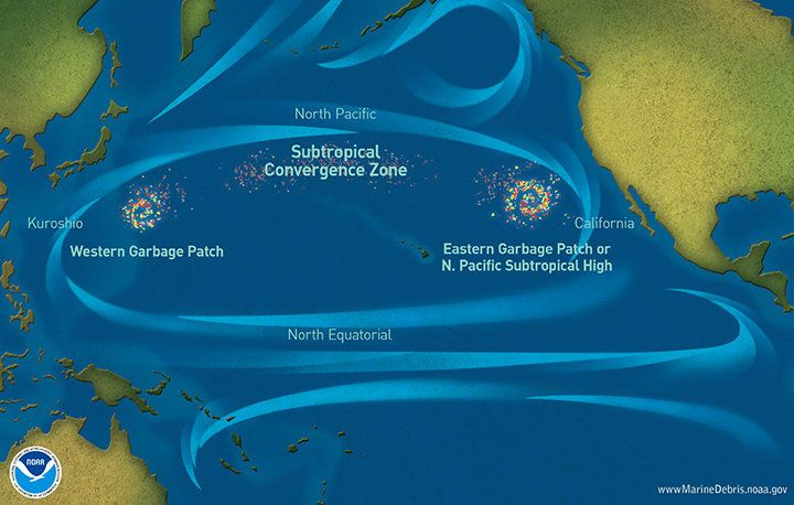 "The NOAA Marine Debris Program map shows several ""garbage patches"" where ocean currents and atmospheric pressure push la"