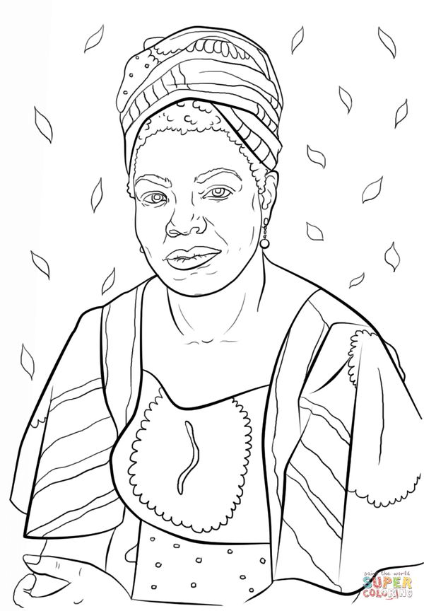 "Print for free at<a href=""http://www.supercoloring.com/coloring-pages/maya-angelou"" target=""_blank""> Supercoloring.com</a>."
