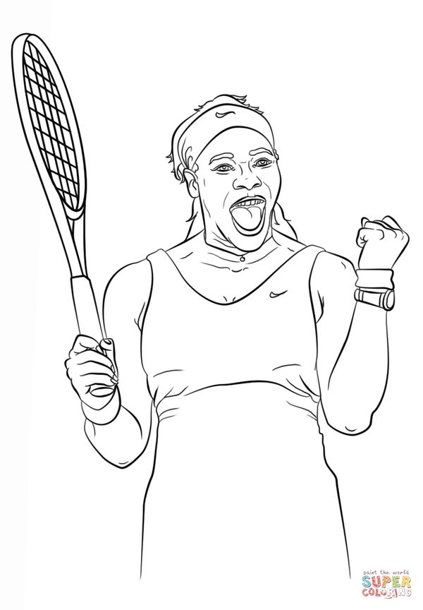 "Print for free from <a href=""http://www.supercoloring.com/coloring-pages/serena-williams"" target=""_blank"">Supercoloring."