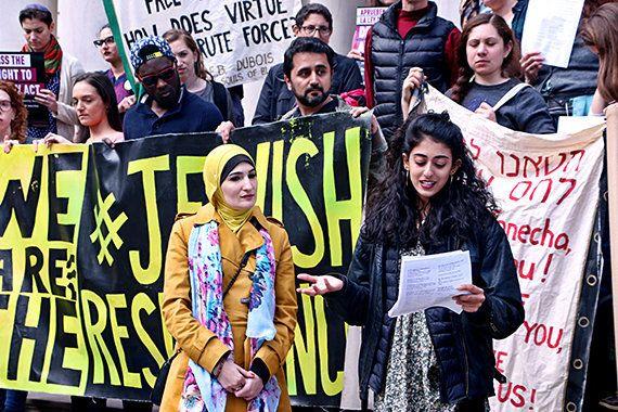 Women's March activist Linda Sarsour participates in JFREJ's rally.