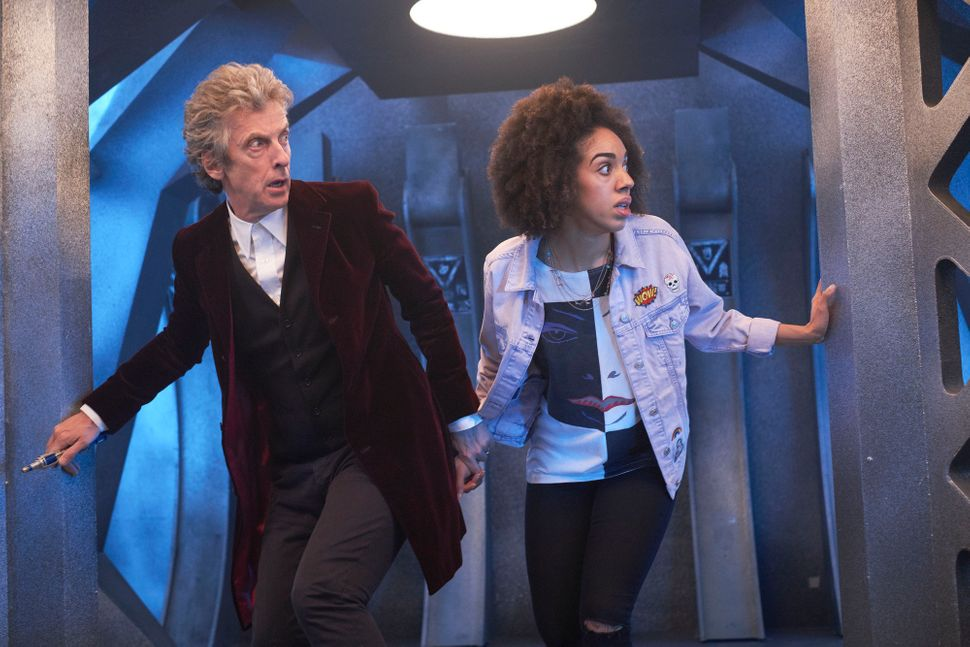 "The Doctor (Peter Capaldi) and Bill Potts (Pearl Mackie) in ""Doctor Who"" Season 10."