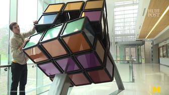 University of Michigan Engineering students created a 1500-pound Rubiks Cube