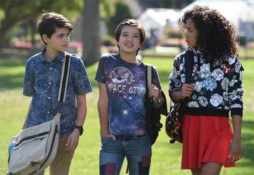 (L to R) Joshua Rush, Peyton Elizabeth Lee and Sofia Wylie.